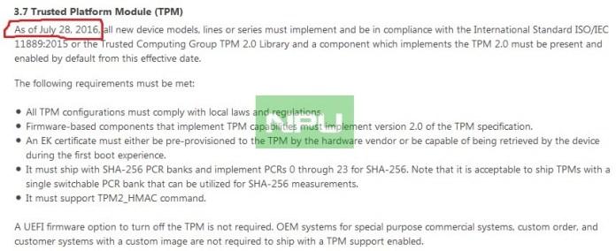 Windows 10 Mobile TPM 2.0 July 28