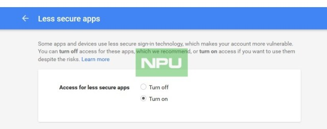 Google Less Secure apps