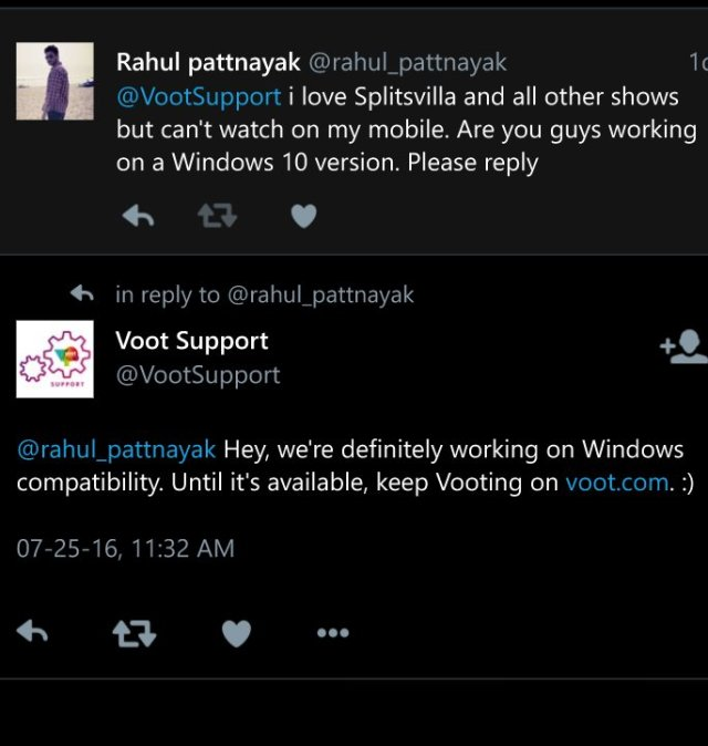 Voot windows phone
