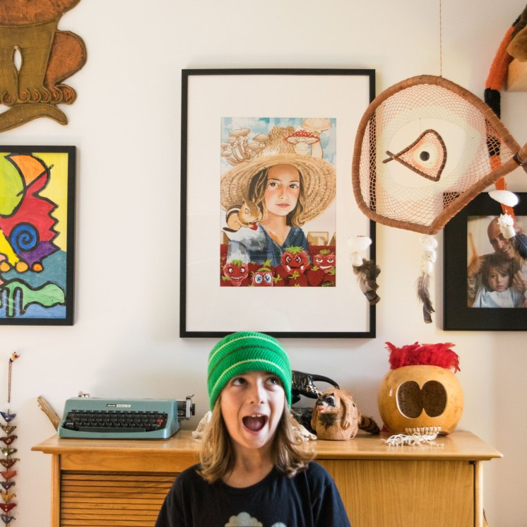 Levi's Portrait hanging in Levi's crazy room!