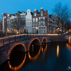Three bridge sunset, Keizersgracht (454F33989)