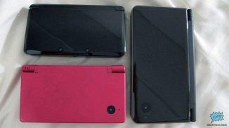Comparación de tamaño entre el 3DS, DSi y el DSi XL