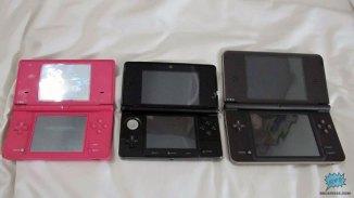 Comparación de tamaño desplegado entre el 3DS, DSi y el DSi XL