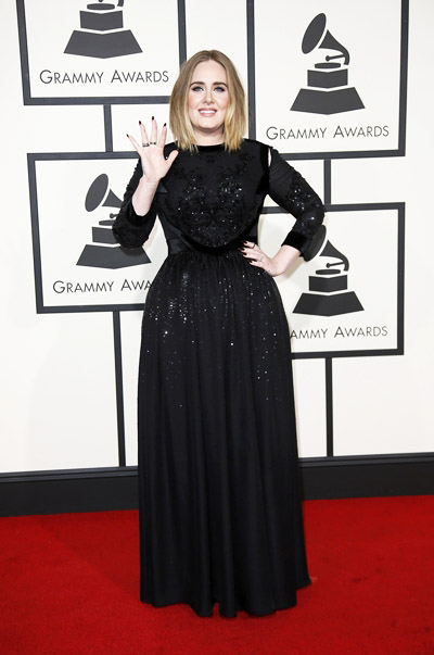 Singer Adele arrives at the 58th Grammy Awards in Los Angeles, California February 15, 2016. REUTERS/Danny Moloshok
