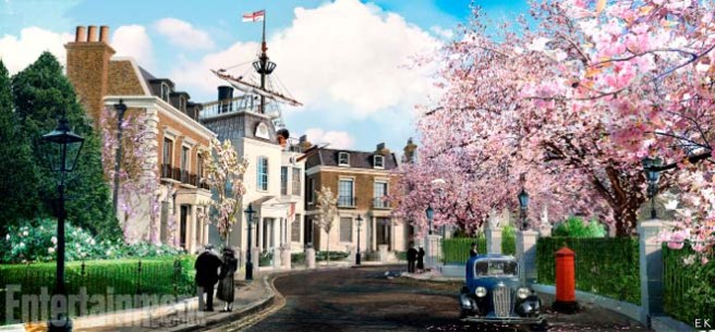 Mary Poppins Return (2018) Concept art - Cherry tree Lane - spring ANY ADDITIONAL USAGE SHOULD BE CLEARED WITH DISNEY