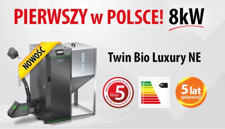 Najmniejszy kocioł pelletowy Twin Bio Luxury 8kW