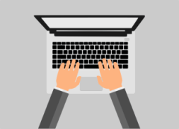 typing on laptop illustration