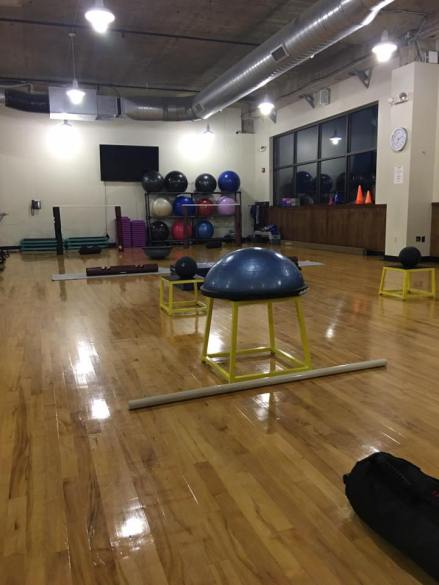 Set up for Coach Zach's Functional Fitness class.