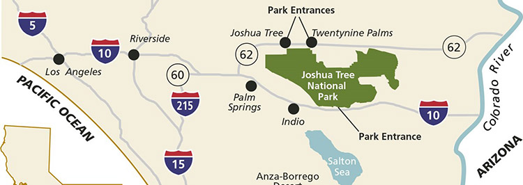 mapa del parque nacional Joshua tree