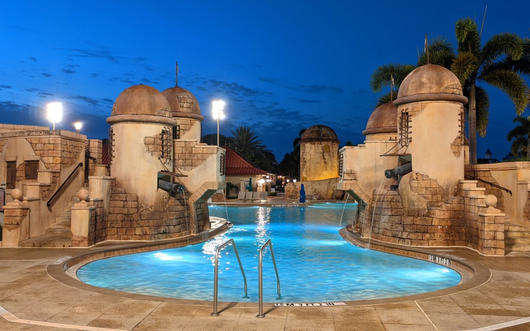 Themed towers at the Fuentes del Morro pool at Disney's Caribbean Beach Resort