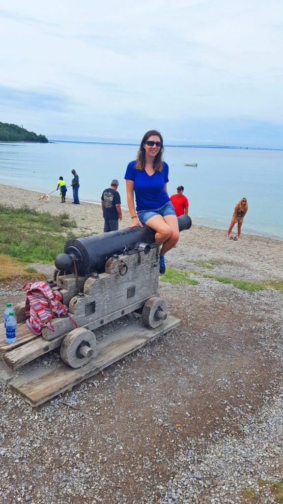 Cannon on the beach on Mackinac Island
