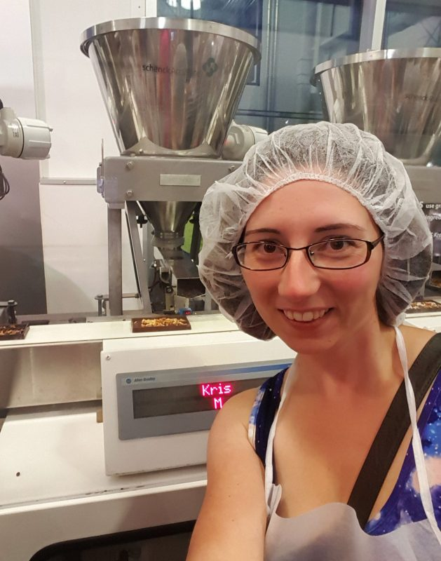 Creating chocolate bars at Hershey's Chocolate World