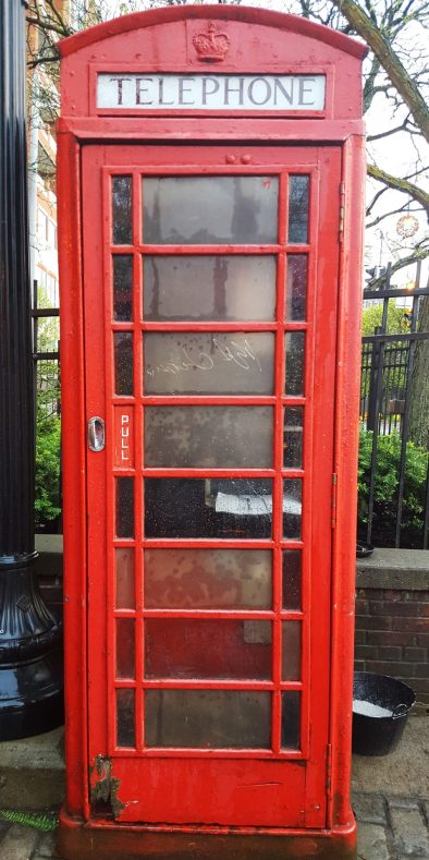 English phone booth at the Olde English Pub in Albany, New York