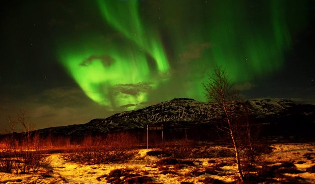 Northern Lights over Geysir in Iceland