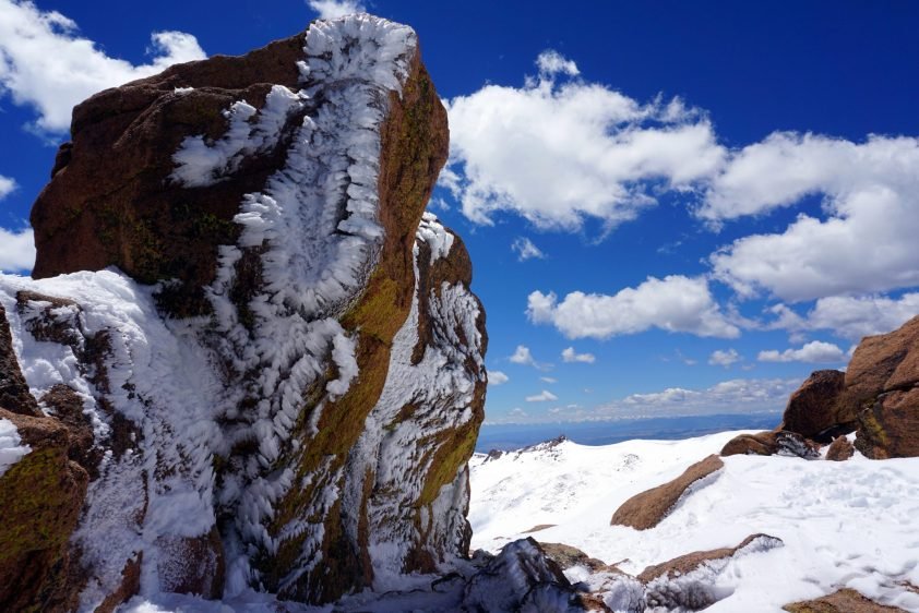 Icy rocks along the drive up Pikes Peak