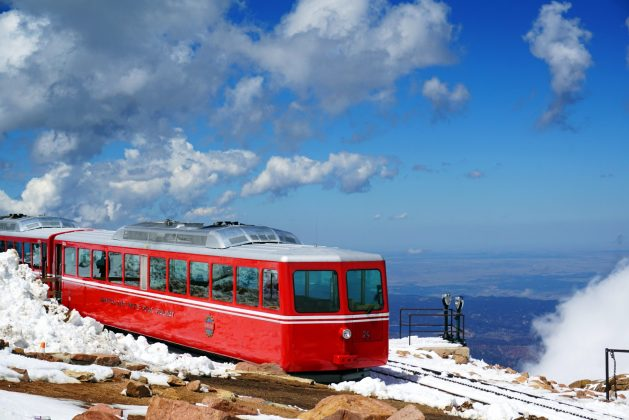 Cog railway train at the top of Pikes Peak