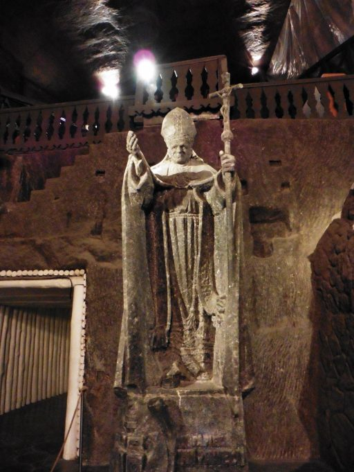 Statue of Pope John Paul II in the Wieliczka Salt Mine