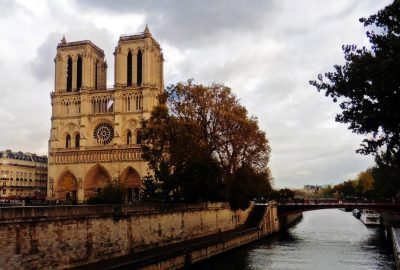 Notre Dame by the River Seine in Paris, France