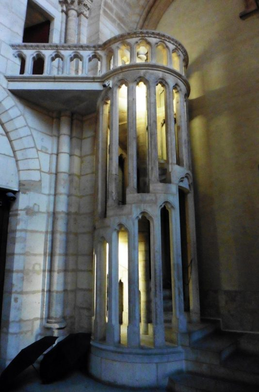 Spiral stairs inside of Notre Dame in Paris, France