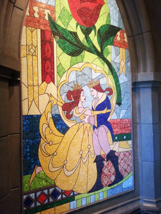 Stained glass in Be Our Guest - Magic Kingdom without kids
