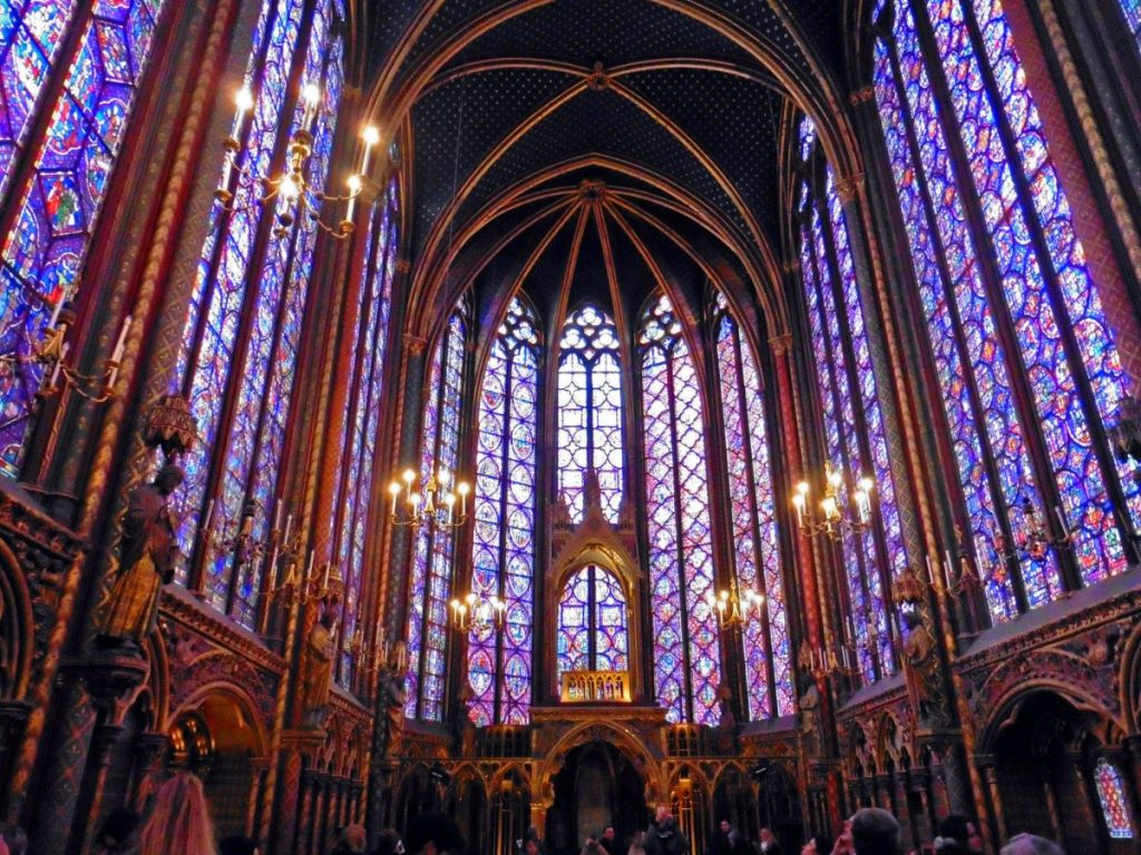 Stained glass in Sainte Chappelle in Paris France