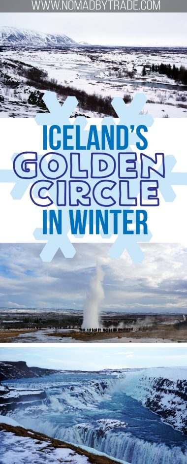Visit Iceland's famous Golden Circle in the winter for beautiful views of its natural wonders. Don't miss Þingvellir National Park, Geysir, or Gullfoss just because it's cold out. #Iceland | #GoldenCircle | #Gullfoss | #Geysir | Thingvellir | Winter in Iceland | Golden Circle in winter