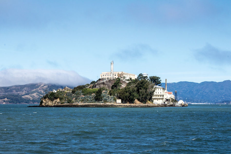 Alcatraz Prison on an island in San Francisco Bay