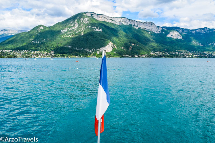 Turquoise waters of Lake Annecy in the French Alps