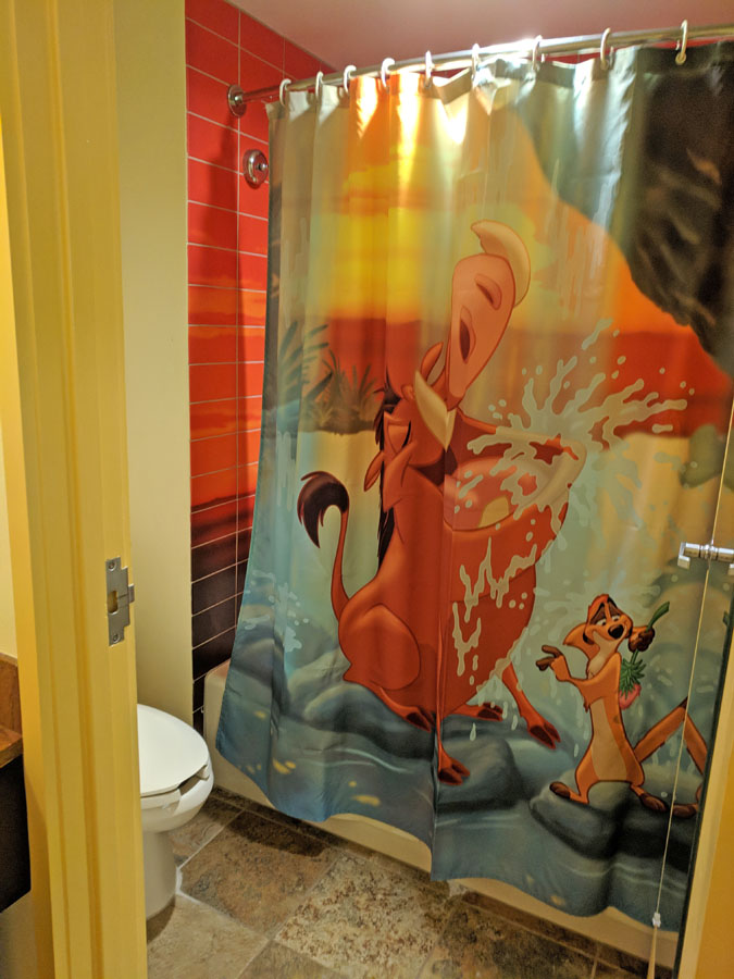 Lion King shower curtain in the Art of Animation rooms