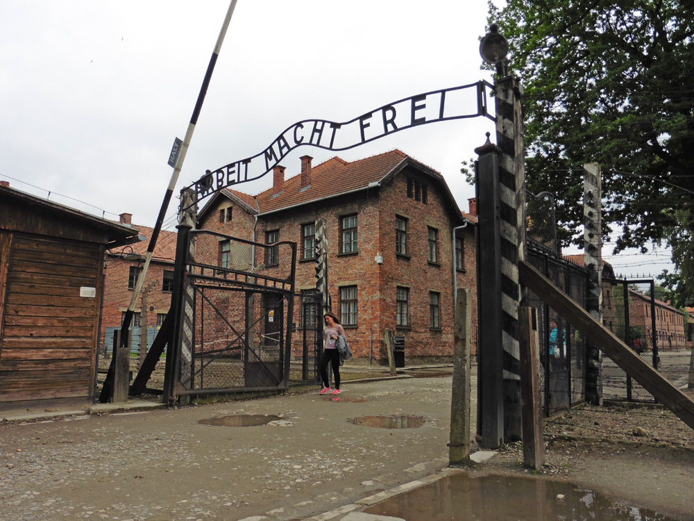 """Gate with """"Arbeit Macht Frei"""" at the entrance to Auschwitz"""