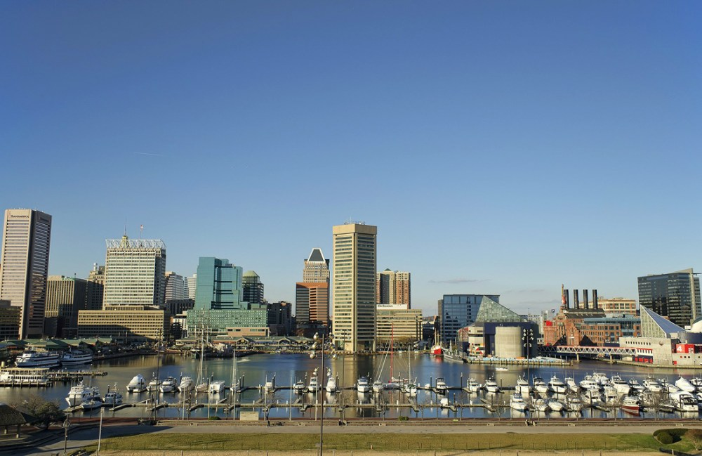 Buildings along Baltimore's Inner Harbor