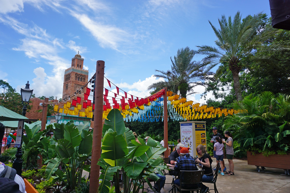 Kiosk with rainbow flags at the Epcot Food and Wine Festival