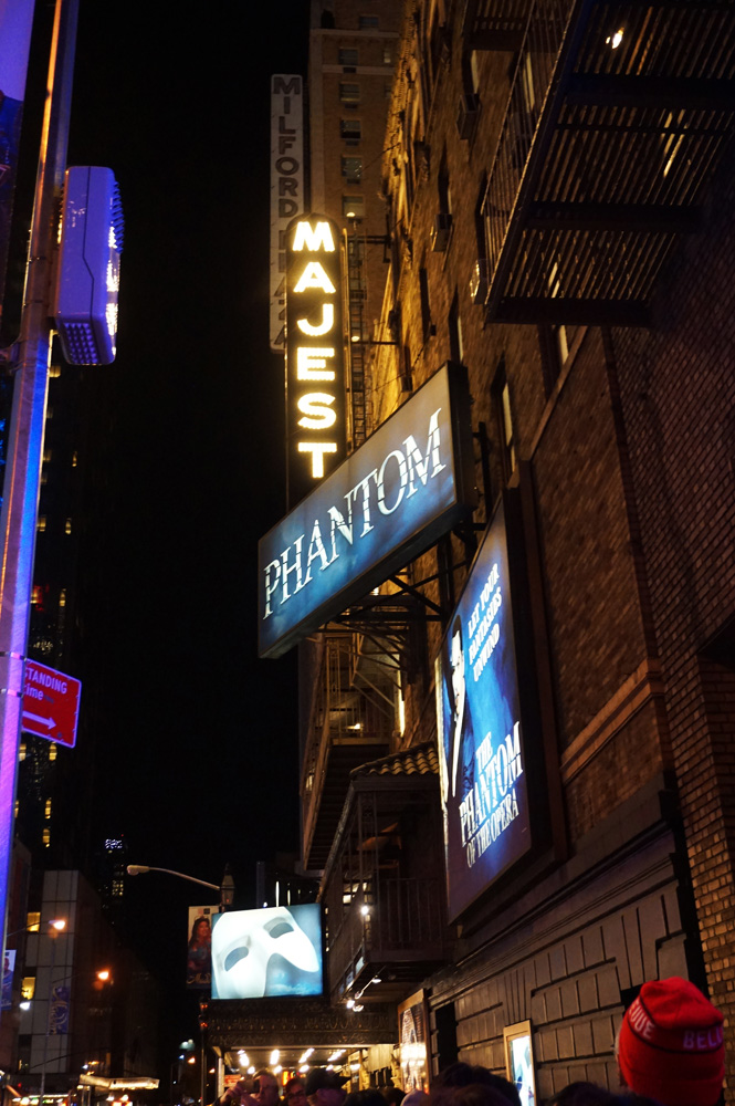 Phantom of the Opera signage on Broadway in NYC