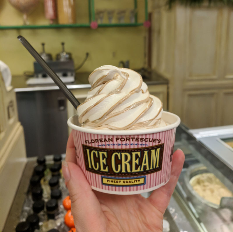 Butterbeer ice cream from Florean Fortescue's Ice Cream Parlour in Diagon Alley