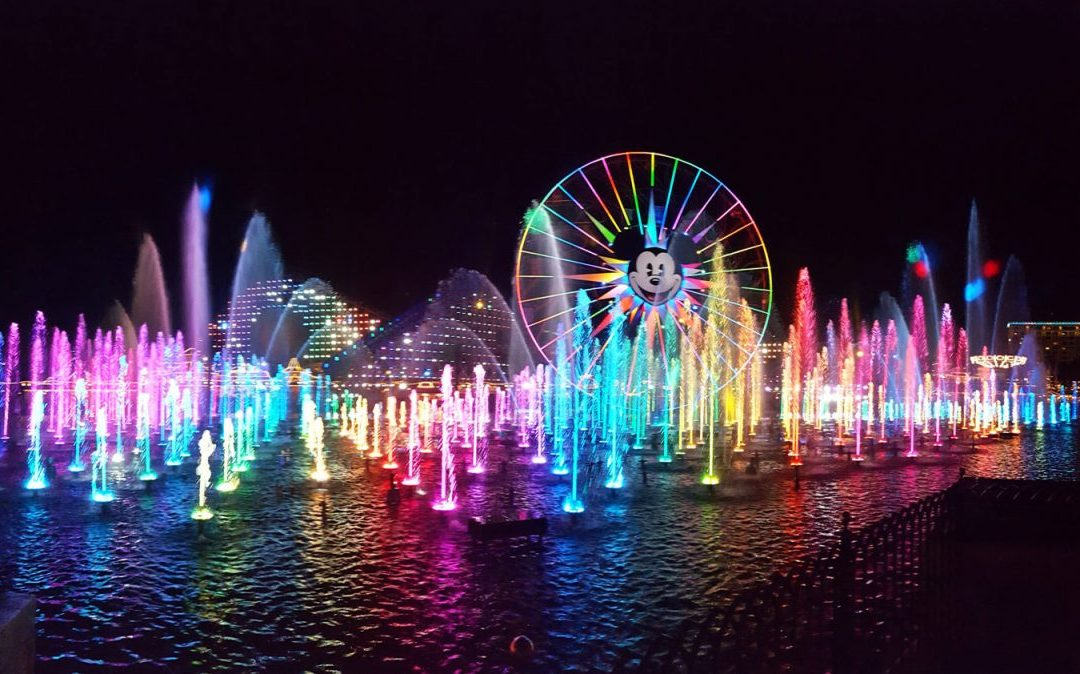 Colorful fountains from World of Color