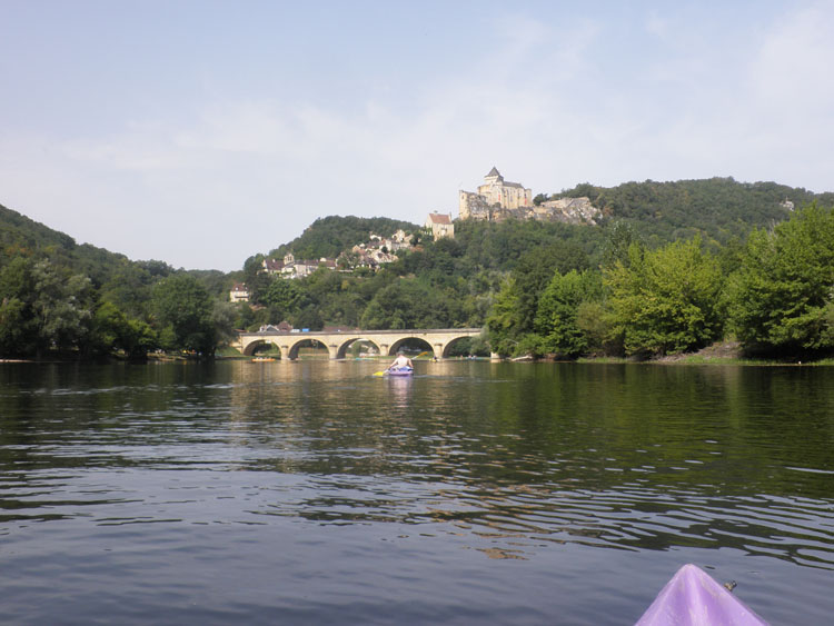 View from a canoe on the Dordogne River in France