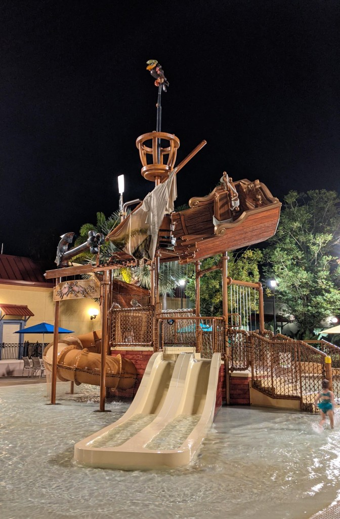 Pirate-themed kiddie splash area at the Fuentes del Morro pool at Disney's Caribbean Beach Resort