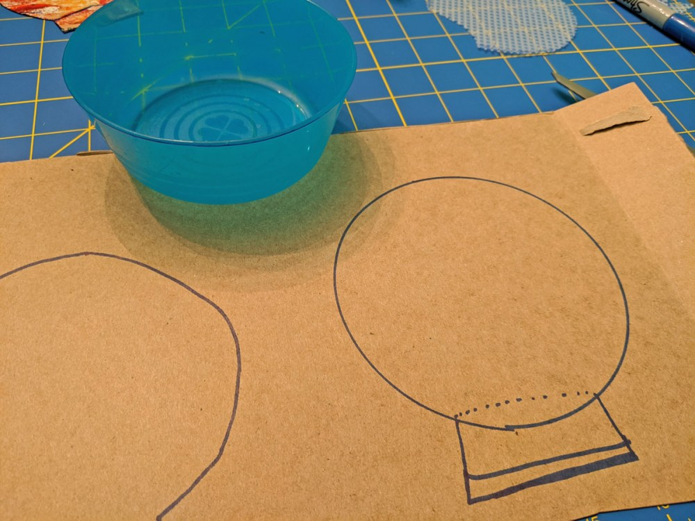 DIY Minnie Mouse ears template traced on cardboard