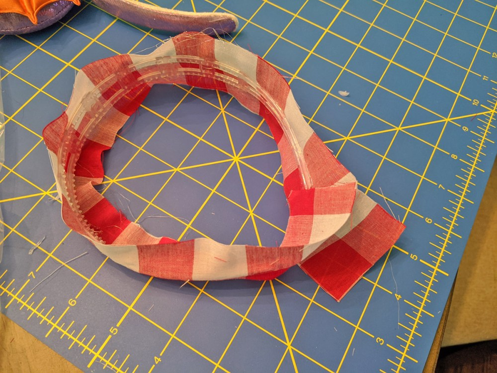 Lining a homemade Minnie Mouse ears headband