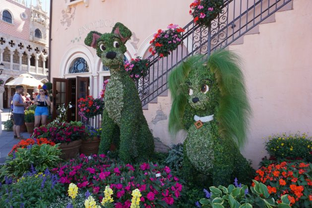 Lady and the Tramp topiary - Disney Flower and Garden