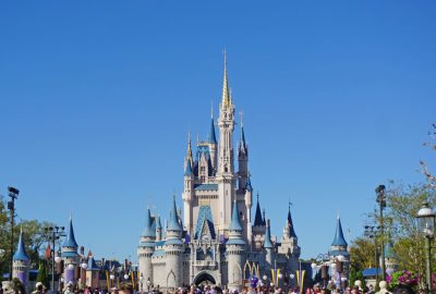 Cinderella Castle beneath a blue sky at Disney World