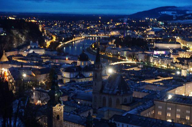 Salzburg, Austria at twilight