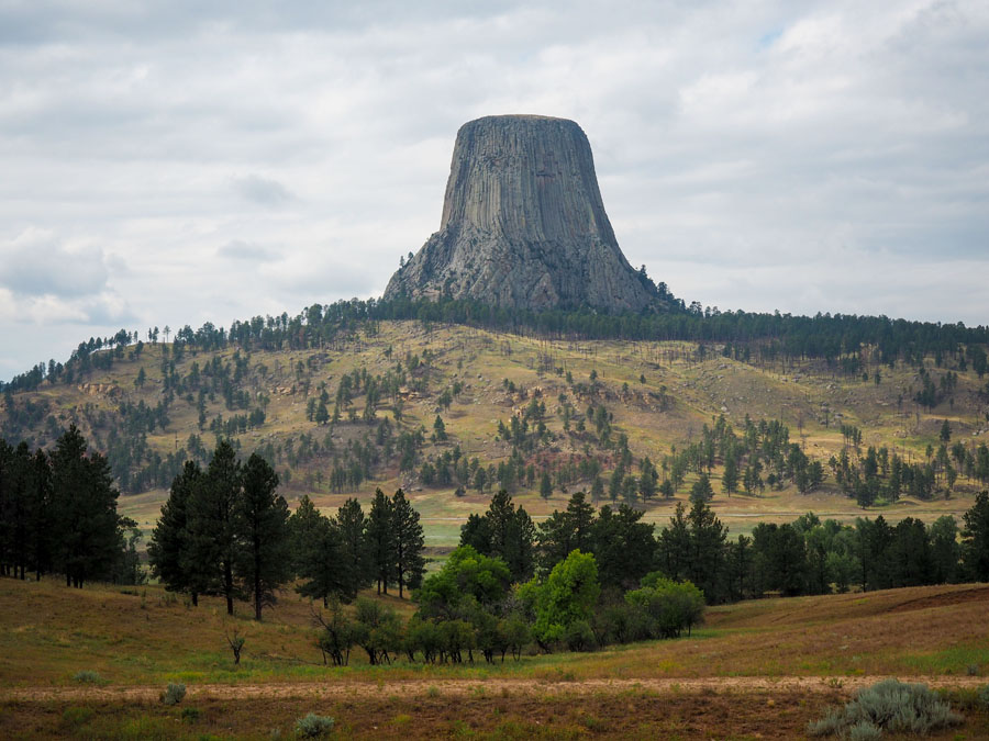 Devils Tower stands above the rolling hills of Wyoming