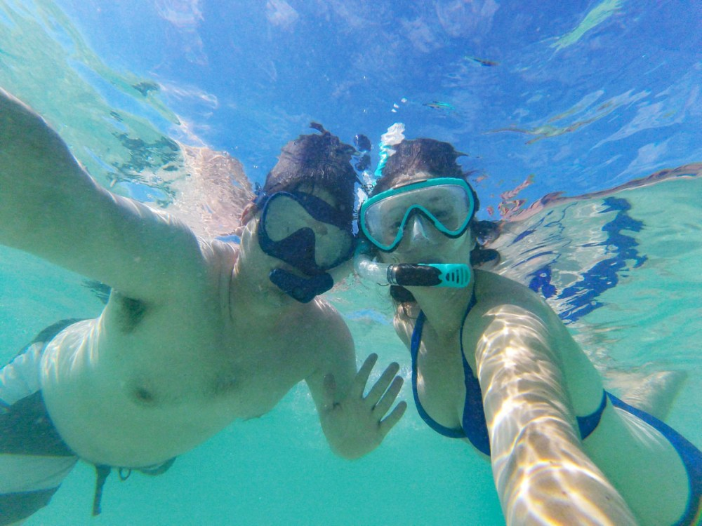 Snorkelers in the water in Dry Tortugas National Park