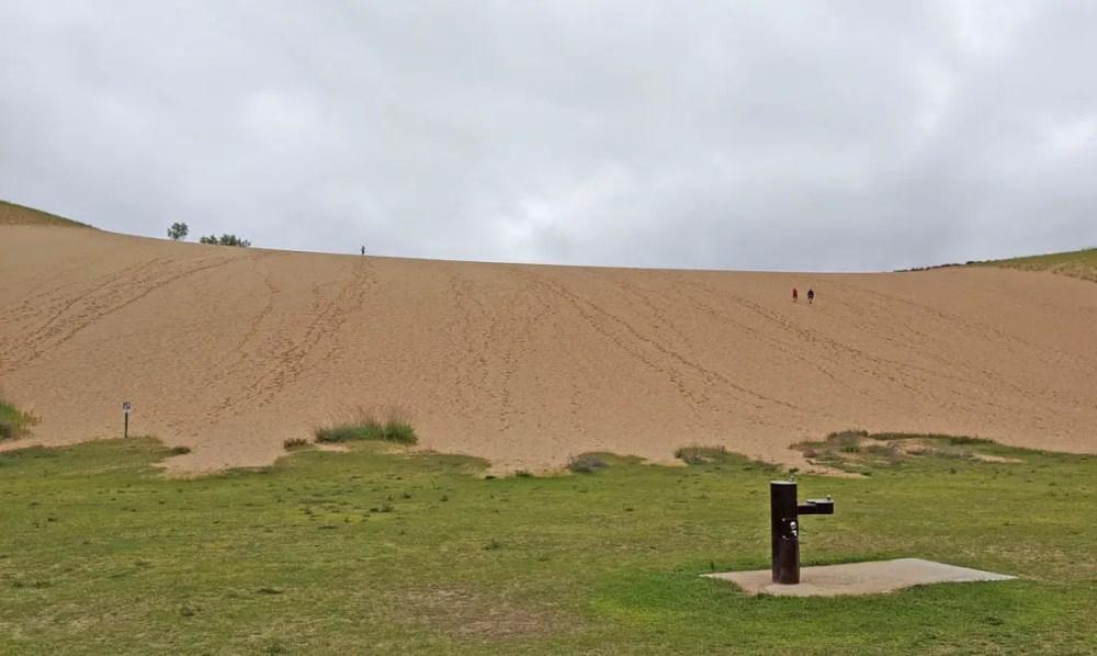 Large sand dune for climbing at Sleeping Bear Dunes National Lakeshore in Michigan