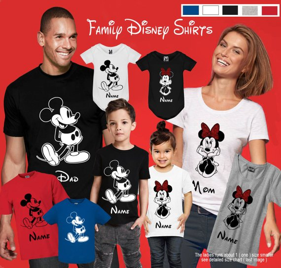 Minnie and Mickey t-shirts customized for the whole family