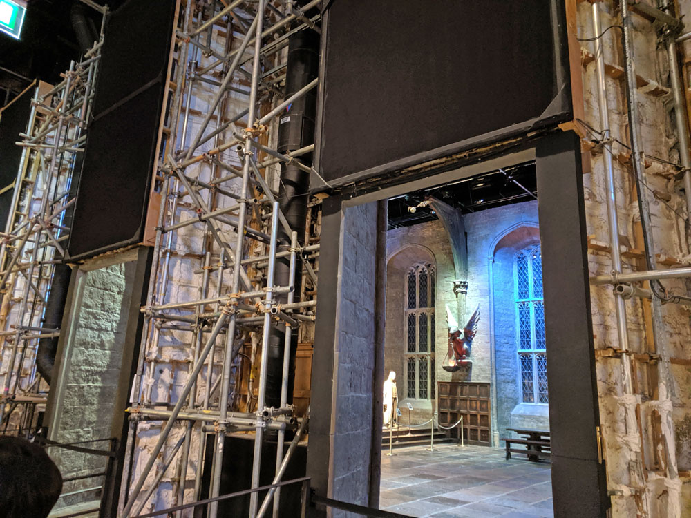 Behind the scenes of the Great Hall at the Warner Bros Studio Tour London