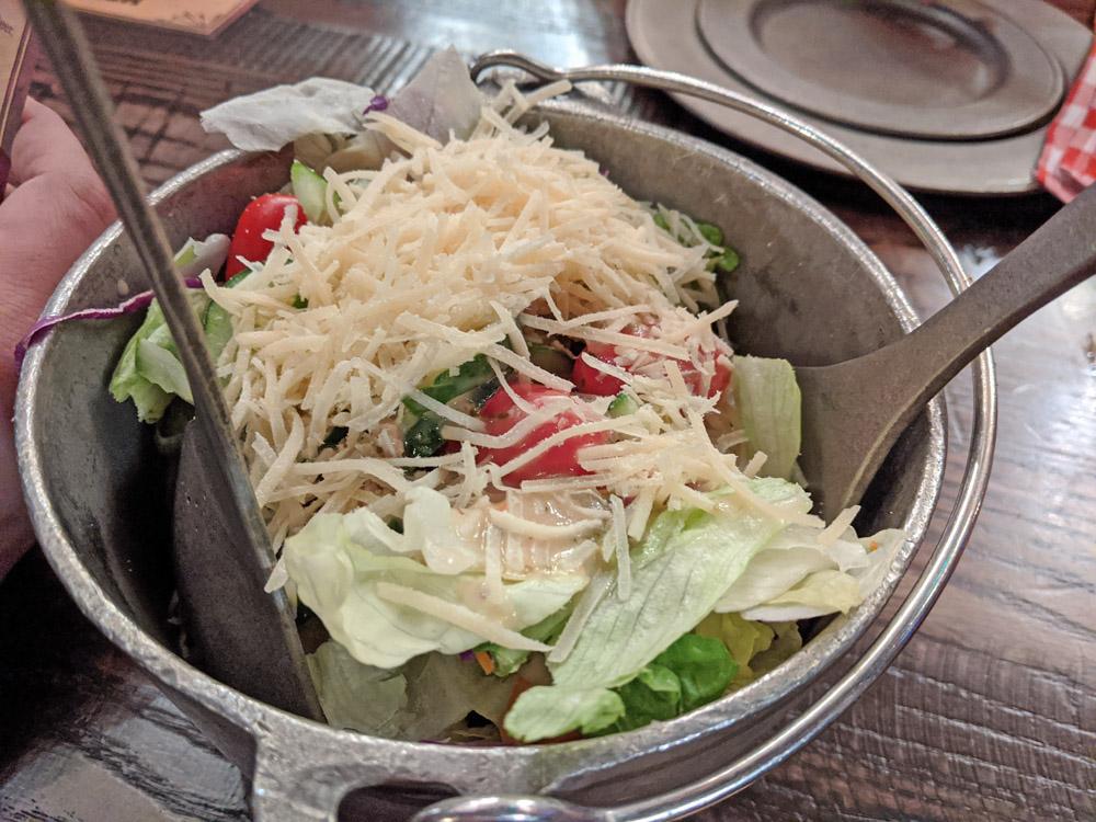 Bucket of salad at the Hoop Dee Doo Revue