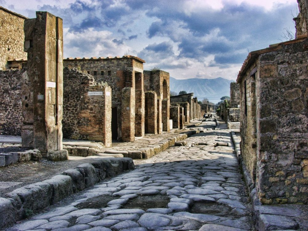 Streets of Pompeii under cloudy skies