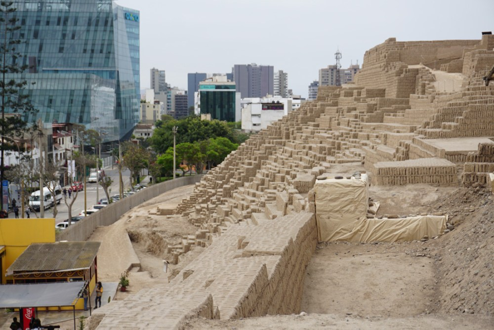 View from the top of the Huaca Pucllana pyramid.
